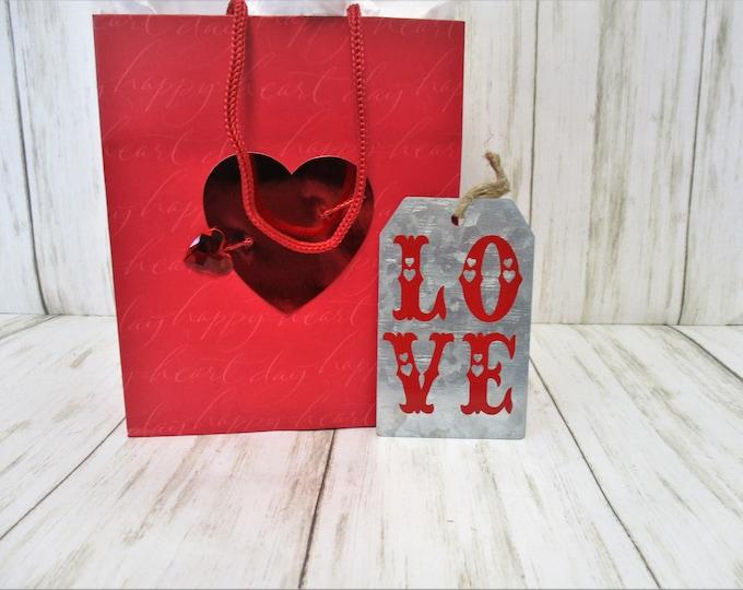 Galvanized Valentines Day Ornament, Love Ornament, Valentines Day Gift, Valentines Day Decor