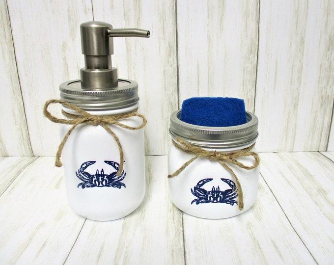 Blue Crab Mason Jar Kitchen Set, Soap Dispenser, Sponge Holder, Crab Lover, Beach Kitchen Decor, Crab Decor, Beach Decor, Mason Jar Decor