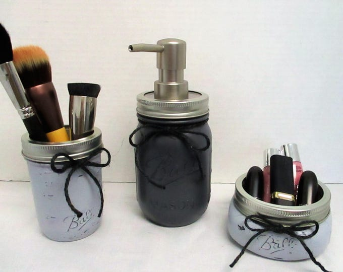 Mason Jar Bathroom Set, Soap Dispenser, Bathroom Set, Makeup Brush Holder, Rustic Bathroom, Vanity Set, Lotion Dispenser, Desk Set