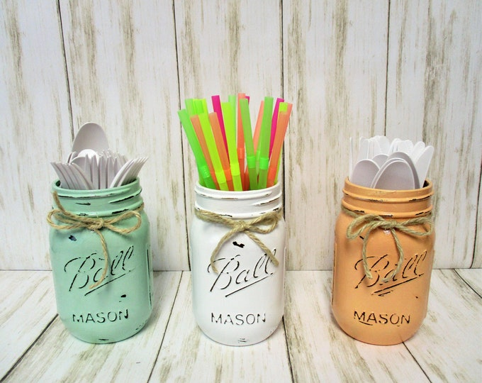 Mason Jar Decor, Party Decorations, Centerpiece, Baby Shower Decor, Wedding Decor, Bridal Shower Decor, Centerpiece, Pastel Mason Jars