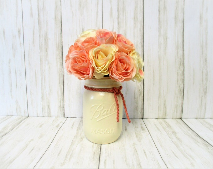 Peach & Cream Rose Centerpiece, Country Chic Decor, Flower Arrangement, Country Centerpiece, Mothers Day