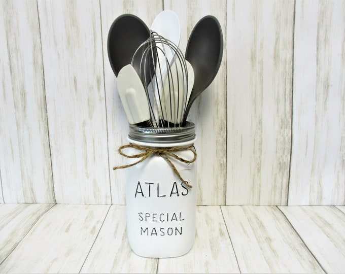 Mason Jar Utensil Holder, Mason Jar Centerpiece, Mason Jar Decor, Kitchen Decor, Farmhouse Decor, Country Kitchen, Country Decor, Atlas