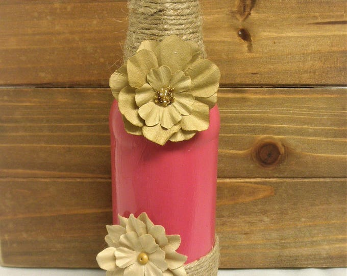 Shabby Chic Soda Bottle Decor, Home Decor, Rustic Decor, Farm Decor, Wedding Centerpiece, Bud Vase, Farmhouse, Pink Vase