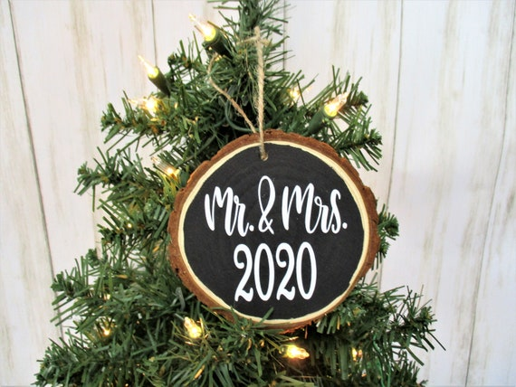 Mr. & Mrs, 2020 Christmas Wood Slice Ornament, Country Christmas Ornament, Wood Décor, Rustic Christmas, Farmhouse Décor, Wedding Gift