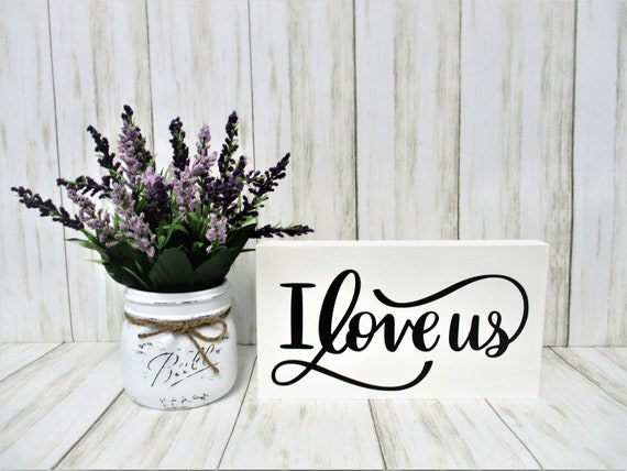 Tiered Shelf Mantle Sign, I Love Us Sign Décor, Wedding Housewarming Gift