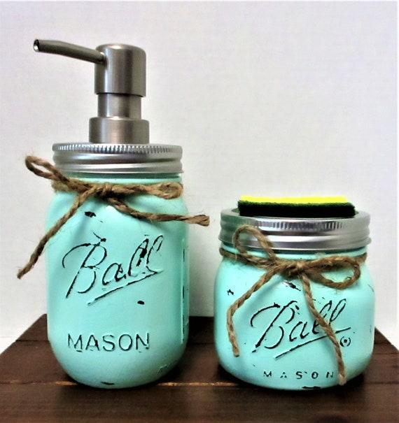 Mason Jar Kitchen Set, Soap Dispenser, Sponge Holder, Beach Kitchen, Farmhouse Kitchen, Country Chic Decor, Beach Decor, Mason Jars