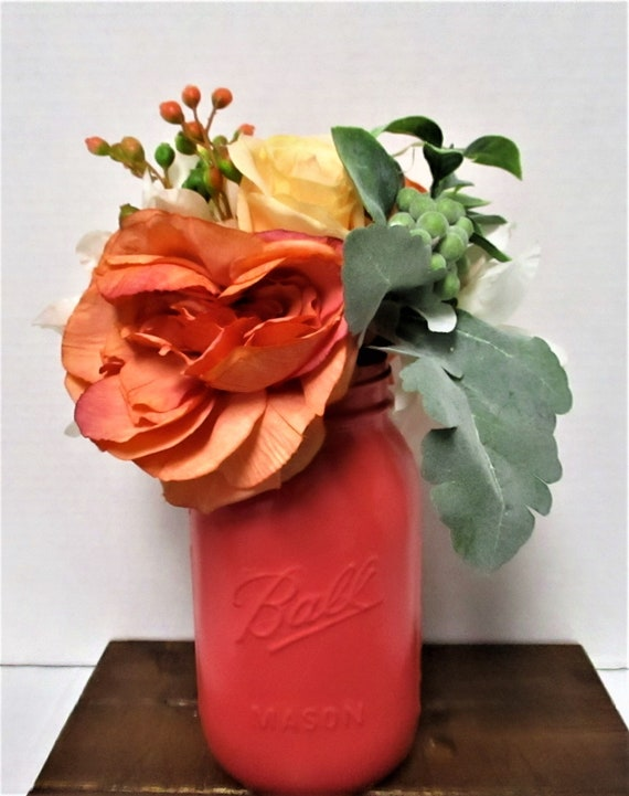 Mason Jar Flower Arrangement, Centerpiece, Flower Arrangements, Shabby Chic, Country Chic,  Farmhouse Decor, Wedding Decor, Get Well Gift