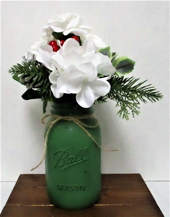 Christmas Centerpiece, Winter Floral Arrangement, Farmhouse  Decor, Country Chic, Rustic Flower Arrrangement