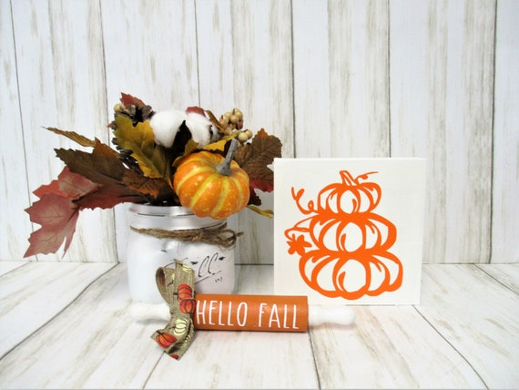 Pumpkin Fall Shelf Sitter Sign, Tiered Shelf Sign, Fall Décor, Mantle Décor, Holiday Décor, Pumpkin Décor