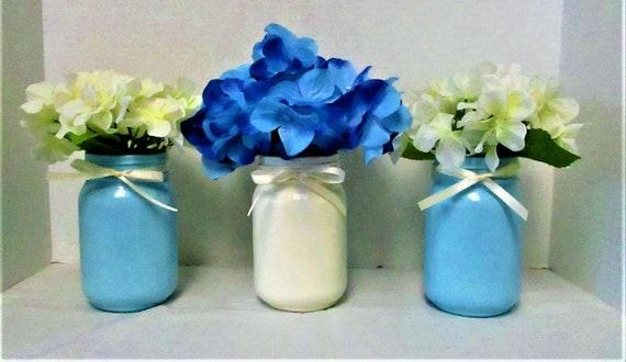 Mason Jar Centerpiece, Blue and White Centerpiece, Mason Jar Decor, Baby Shower Centerpiece  Flower Arrangement, Shabby Chic Decor, Baby Boy
