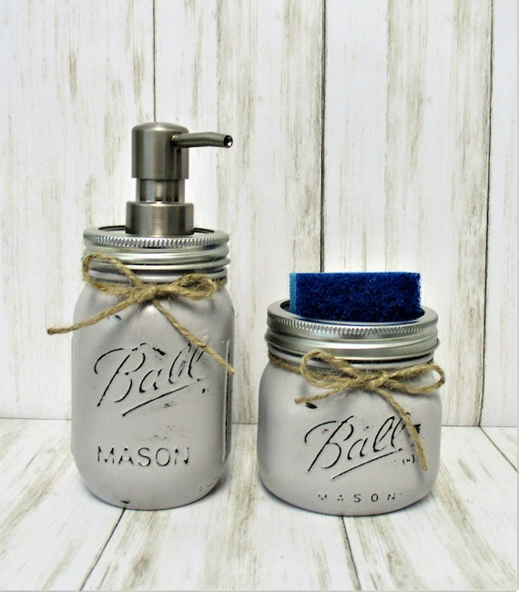 Mason Jar Kitchen Set, Soap Dispenser, Sponge Holder, Rustic Kitchen, Farmhouse Kitchen, Country Decor, Rustic Decor