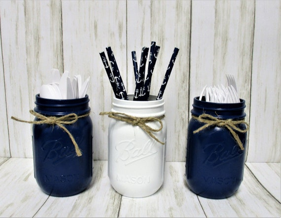 Mason Jar Decor, Party Decorations, Centerpiece, Baby Boy Shower Decor, Wedding Decor, Bridal Shower Decor, Centerpiece, Nautical Mason Jars