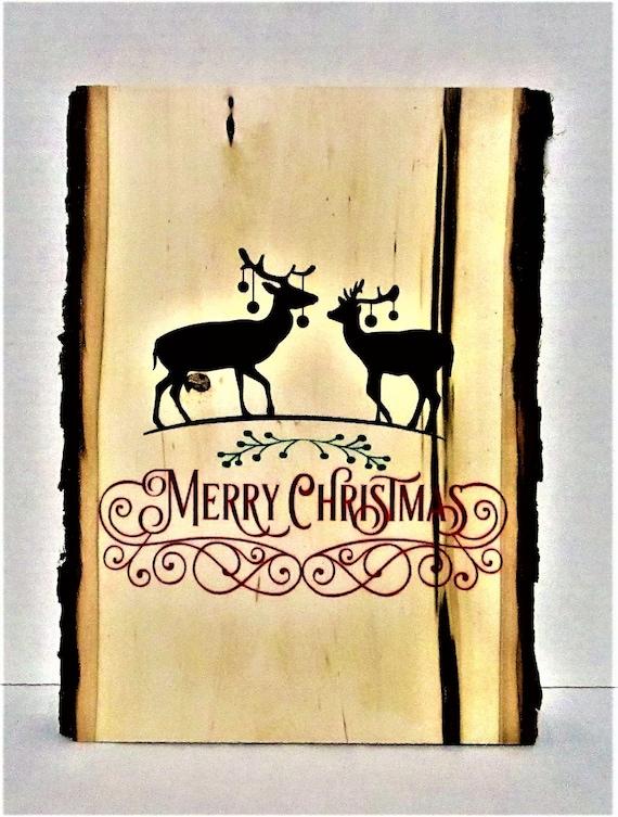 Merry Christmas Deer Wood Slice Sign, Rustic Christmas Sign, Christmas Wall Hanging, Deer, Farmhouse Christmas, Country Christmas