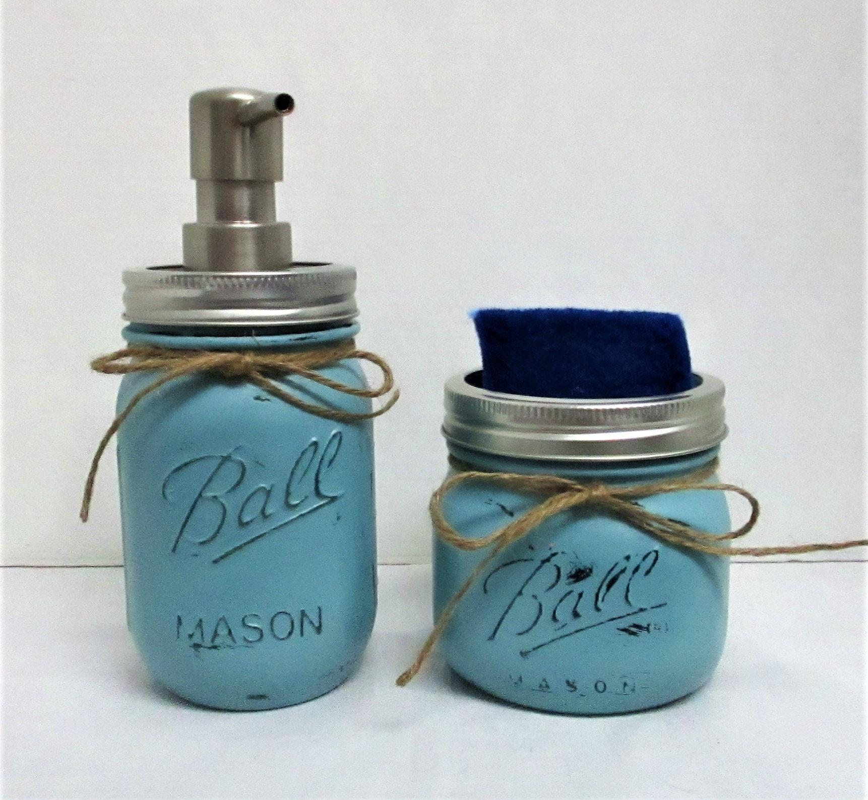 Mason jar kitchen set soap dispenser sponge holder rustic kitchen farmhouse decor country chic decor rustic decor mason jars