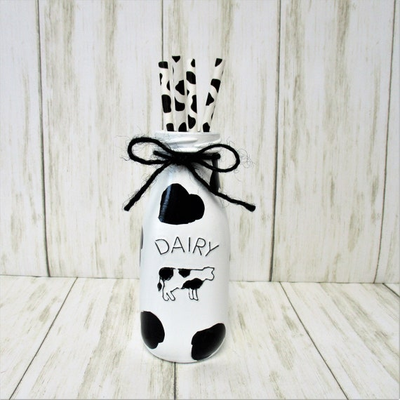 Cow Print Milk Dairy Bottle, Cow Print Decor, Farmhouse Decor, Country Decor, Barn Decor, Rustic Decor, Cow Decor, Cow Straws