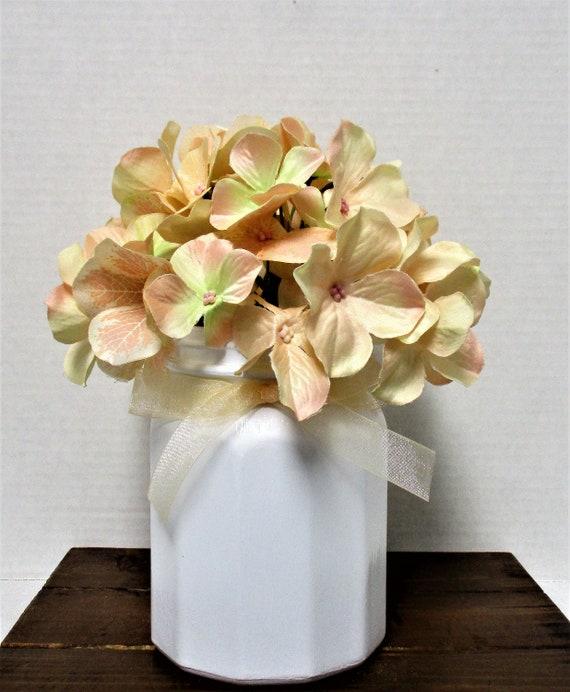 Spring Flower Arrangement, Hydrangea Centerpiece, Shabby Chic Decor, Wedding Decor, Home Decor, Peach Decor, Mothers Day Gift
