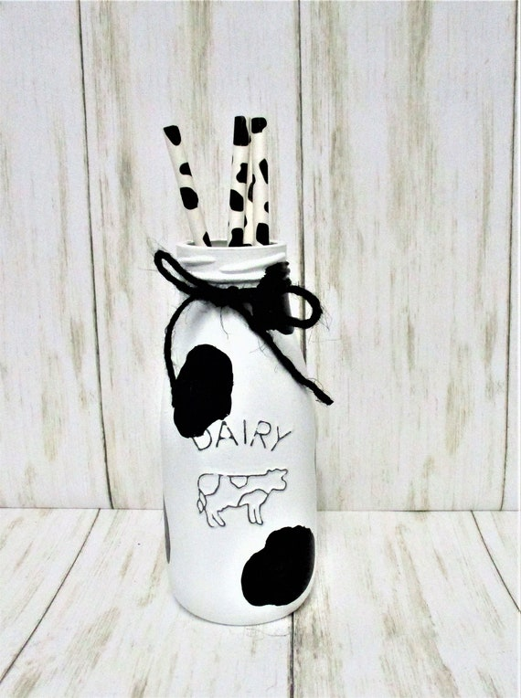 Cow Print Milk Bottle, Dairy Bottle, Cow Print Decor, Farmhouse Decor, Country Decor, Barn Decor, Rustic Decor, Cow Decor, Cow Straws