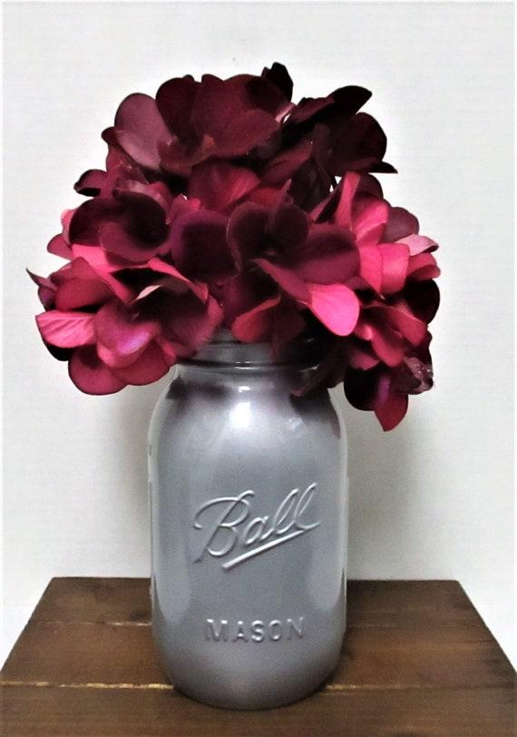Mason Jar Centerpiece, Flower Arrangement, Silver Metallic, Wedding, Centerpiece, Shabby Chic Decor, Magenta Flowers, Mothers Day Gift