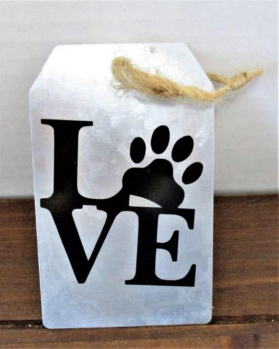 Dog Love Galvanized  Decor, Ornament, Dog Tag Ornament, Farmhouse Christmas Ornament, Dog Ornament, Love Ornament, Dog Mom Gift
