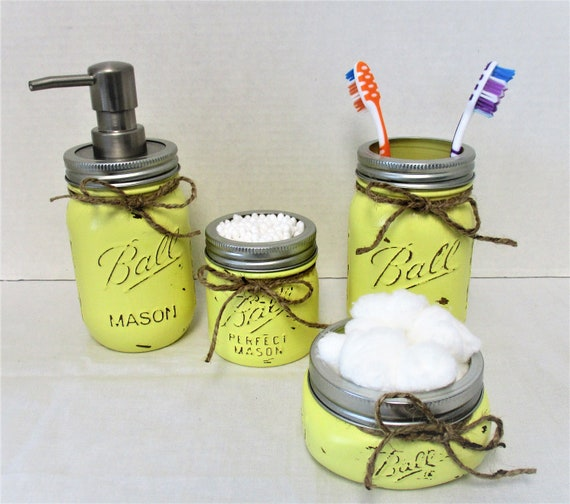 Mason Jar Bathroom Set, Yellow Bathroom Set, Desk Set, Vanity Set, Country Chic, Bathroom Organization, Farmhouse Bathroom Set, Shabby Chic