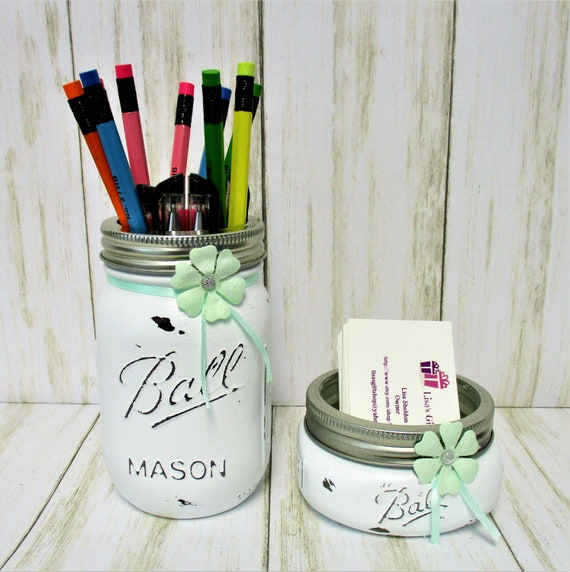 Mason Jar Desk Set, Vanity Set, Desk Set, Bathroom Set, Desk Accessories, Country Chic Decor, Business Card Holder, Pen Holder, Graduation