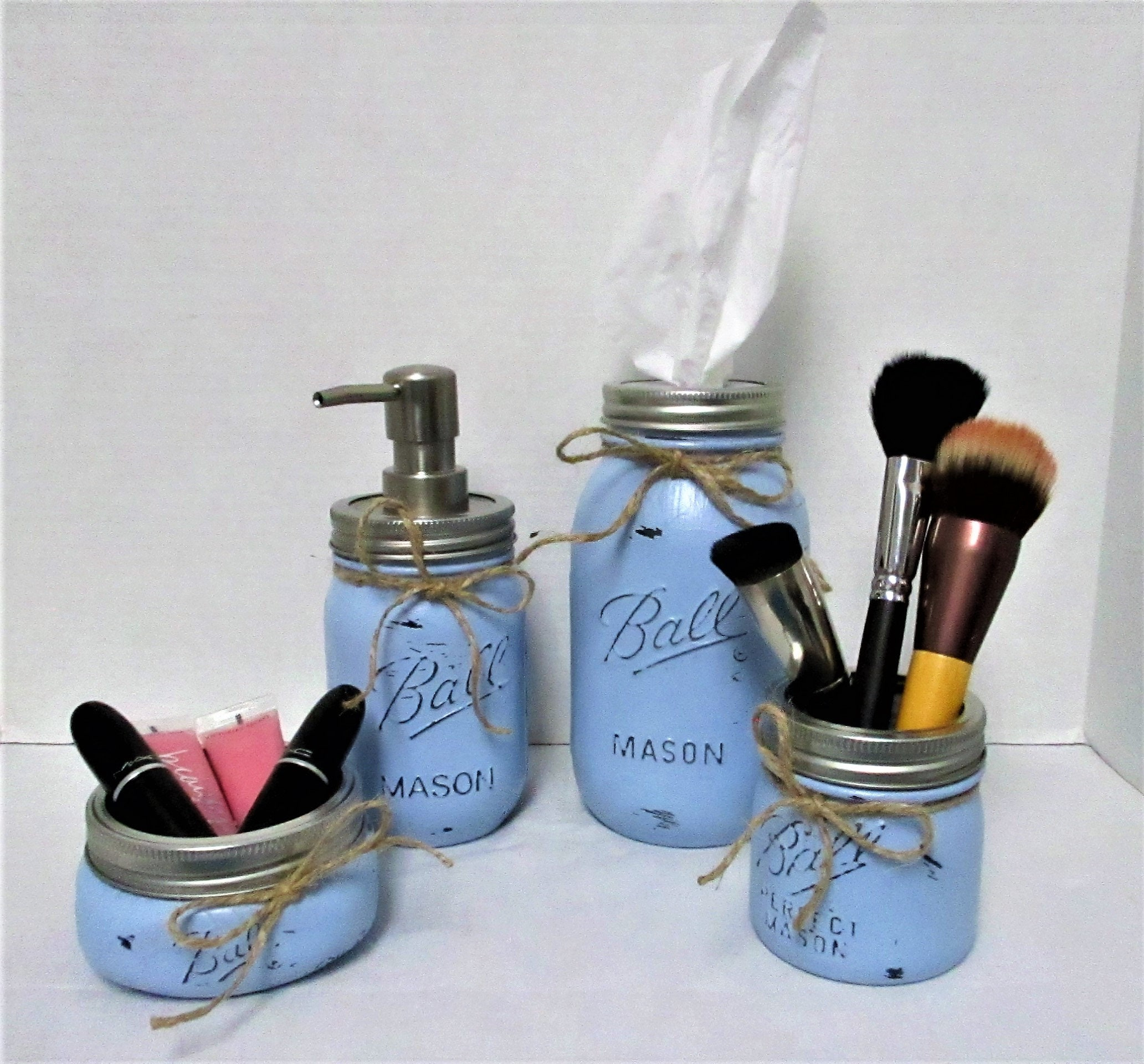 Mason Jar Bathroom Set Blue Bathroom Set Desk Accessories Vanity Set Country Chic Wedding Gift Farmhouse Bathroom Shabby Chic Blue,Where To Find Houses For Rent