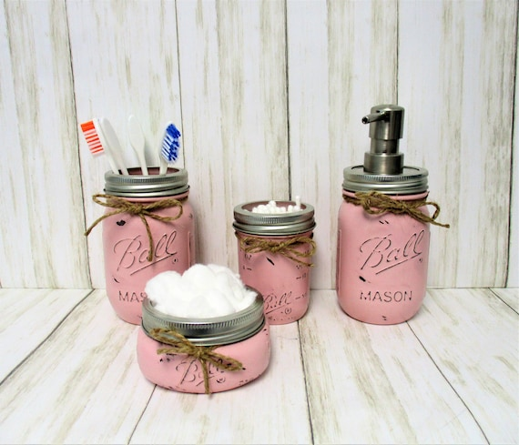 Pink Mason Jar Bathroom Set, Bathroom Set, Vanity Set, Desk Set, Wedding Gift, Farmhouse Bathroom, Home Decor, Country Decor, Rustic