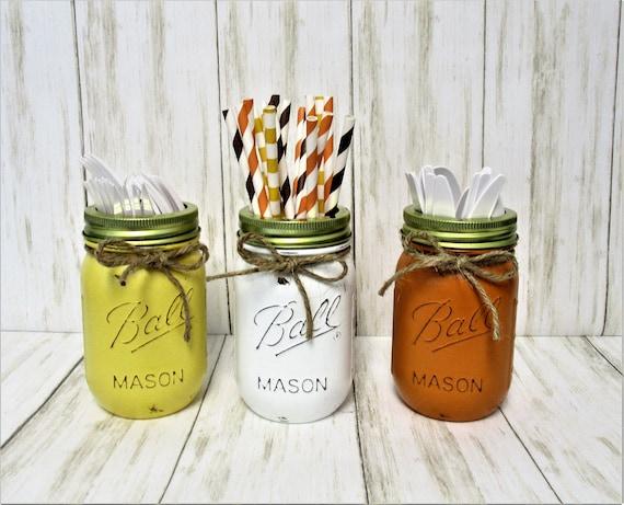 Fall Mason Jar Decor, Fall Party Decorations, Centerpiece, Fall Centerpiece, Utensil Holder, Halloween Decor, Thanksgiving Decor