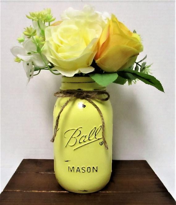 Mason Jar Flower Arrangement, Centerpiece, Flower Arrangements, Shabby Chic, Country Chic,  Farmhouse Decor, Wedding Decor, Mothers Day Gift