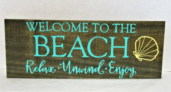 Beach Wood Sign, Welcome to The Beach Decor, Home Decor, Welcome Sign, Beach House Decor