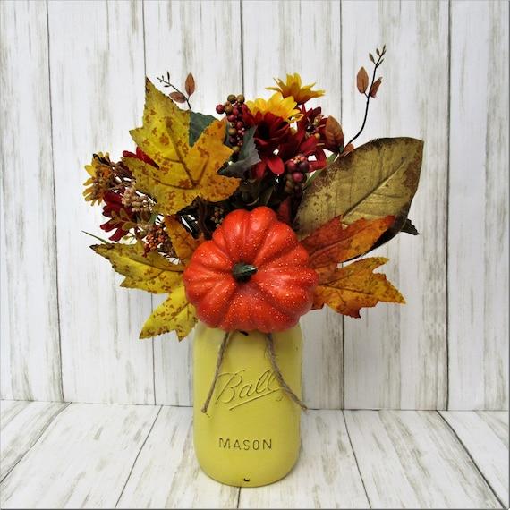 Fall Centerpiece, Fall Mason Jar, Thanksgiving Decor, Leaves and Pumpkin Arrangement, Home Decor, Country Chic, Farmhouse Decor, Fall Decor