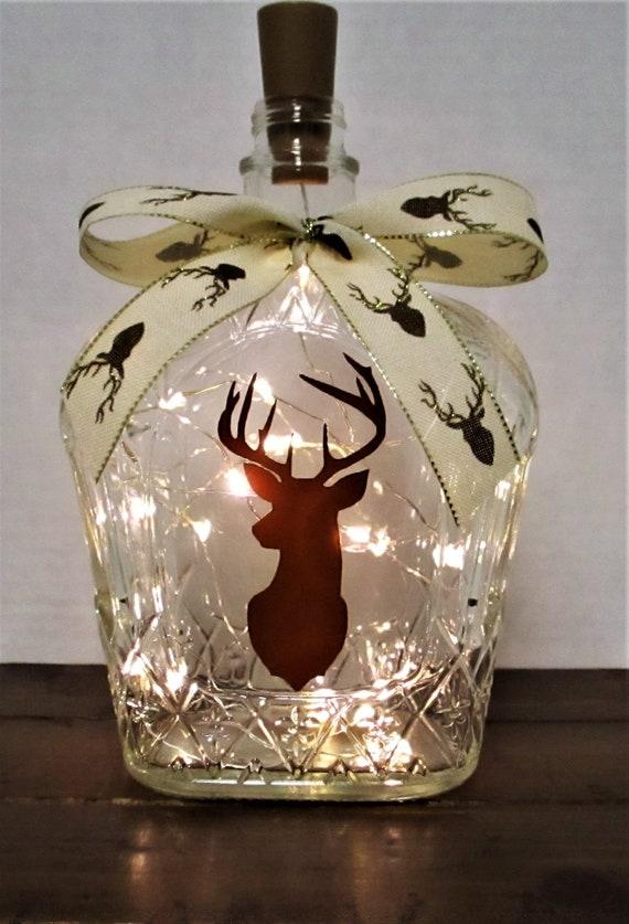 Lighted Bottle, Deer Head Lighted Bottle, Bar Decor, Deer Head Decor, Table Light, Rustic Decor, Farmhouse Decor, Country Deer