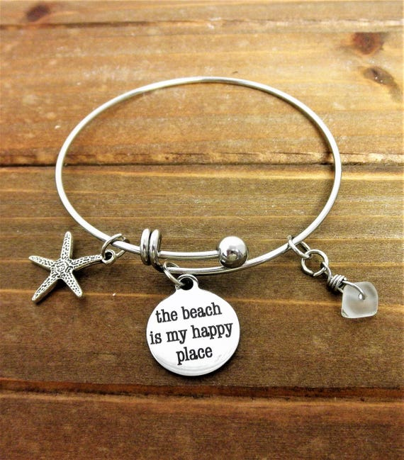 The Beach is My Happy Place Charm Bracelet, Sea Glass Charm, Starfish Charm, Beach Charms, Tropical Jewelry, Gift For Her, Mothers Day Gift