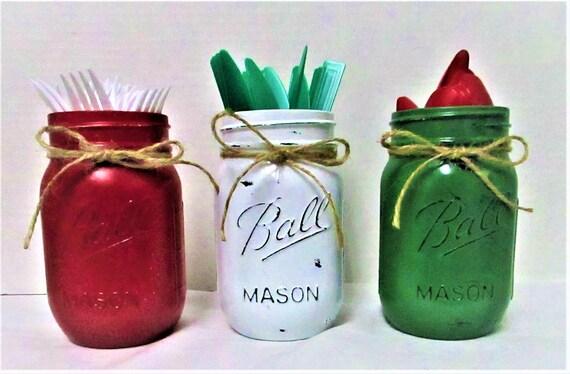 Mason Jar Utensil Holder, Christmas  Decor, Centerpiece, Country Christmas, Christmas Centerpiece, Kitchen Decor, Christmas Mason Jars