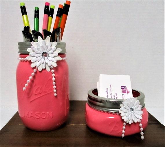 Mason Jar Desk Set, Vanity Set, Bathroom Set, Desk Accessories, Shabby Chic, Business Card Holder, Pen Holder, Pink Decor, Graduation Gift