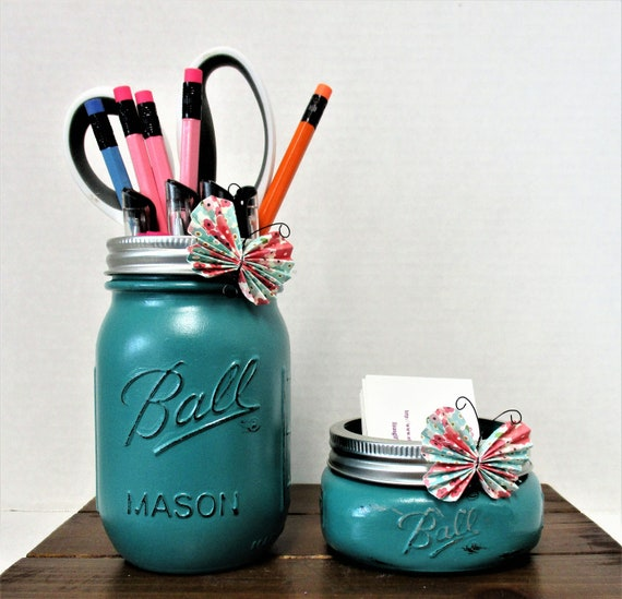 Desk Set Accessories, Vanity Set, Bathroom Set, Mason Jar Desk Set , Country Chic Decor, Business Card Holder, Pen Holder, Graduation Gift