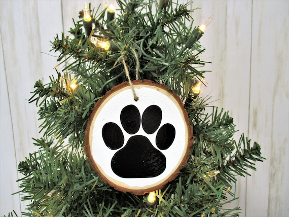 Dog Paw Christmas Wood Slice Ornament, Country Christmas Ornament, Wood Décor, Rustic Christmas, Farmhouse Décor, Wedding Gift