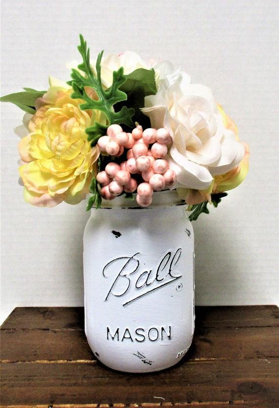 Mason Jar Decor, Centerpiece, Shabby Chic Decor, Wedding Decor, Home Decor, Rustic Decor, Farmhouse Decor, Bridal Shower, Mothers Day Gift