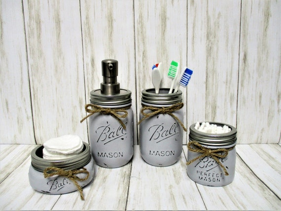 Gray Mason Jar Bathroom Set, Bathroom Set, Vanity Set, Desk Set, Wedding Gift, Farmhouse Bathroom, Home Decor, Country Decor, Rustic