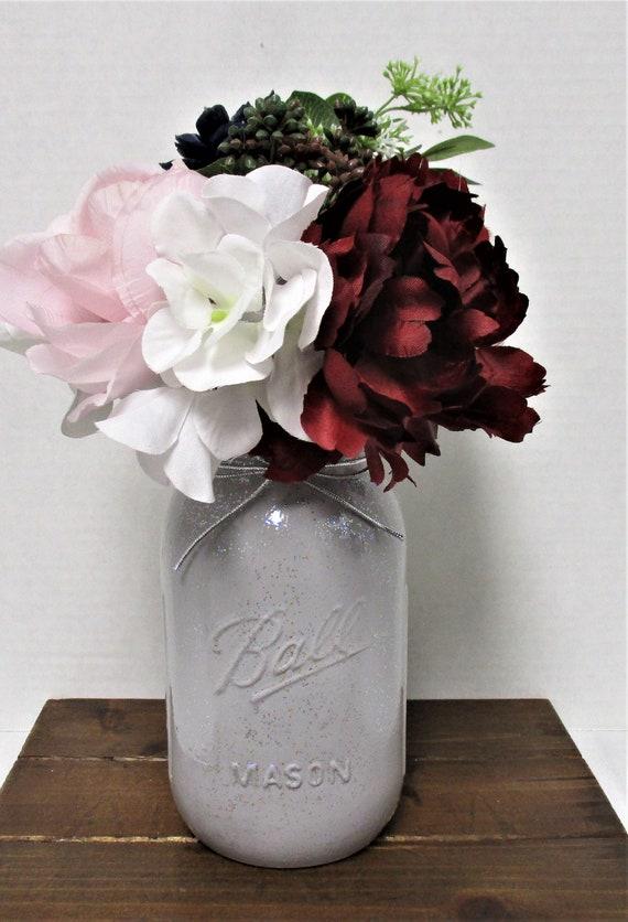 Mason Jar Flower Arrangement, Centerpiece, Country Chic,  Farmhouse Centerpiece, Wedding Decor, Farmhouse Decor, Mothers Day Gift