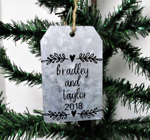 Personalized Christmas Ornament, Galvanized Christmas Ornament, Christmas Tag Ornament, Farmhouse Christmas Ornament