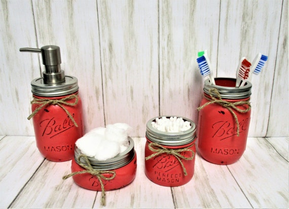 Mason Jar Bathroom Set, Bathroom Set, Desk Set, Vanity Set, Country Chic, Bathroom Organization, Farmhouse Bathroom Set, Shabby Chic
