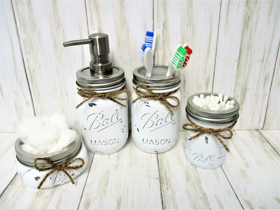 Mason Jar Bathroom Set, Bathroom Set, Vanity Set, Desk Set, Wedding Gift, Farmhouse Bathroom, Home Decor, Country Decor, Rustic