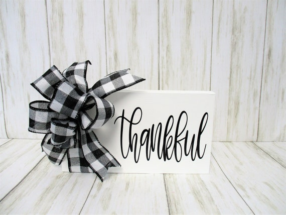 Thankful Tiered Shelf Mantle Sign, Thankful Sign Décor, Black and White Sign, Housewarming Wedding Gift