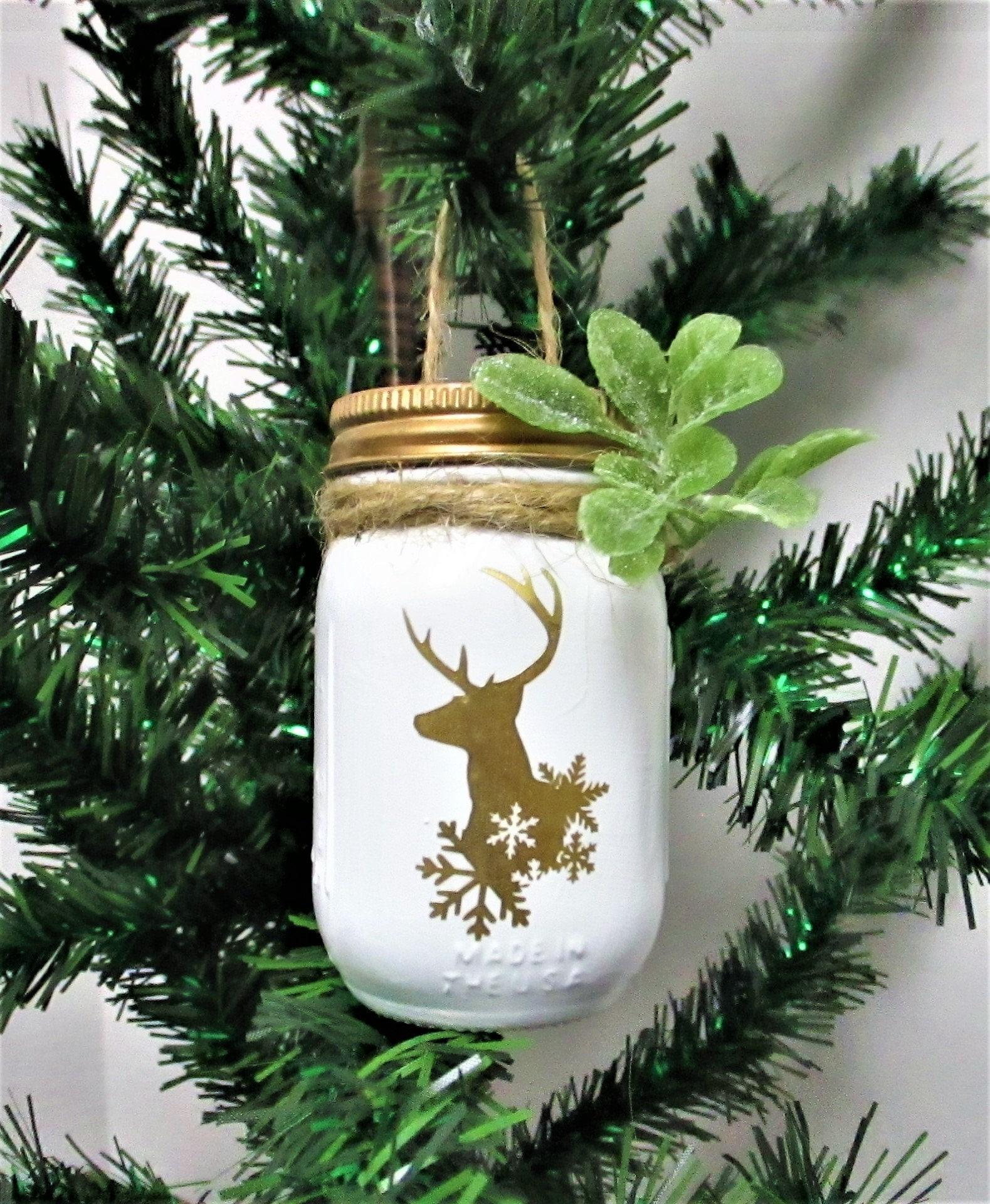 deer christmas ornaments mason jar ornaments farmhouse christmas country christmas mason jar christmas decor deer head ornament