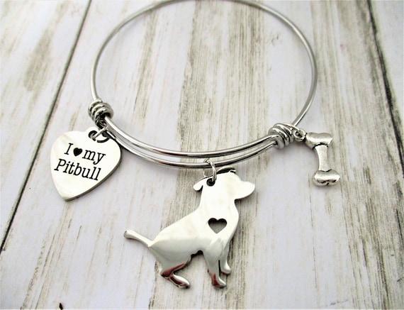 Pitbull Dog Charm Bracelet, Pitbull Lover Gift, Dog Jewelry, Dog Lover Gift, Dog Mom, Mother's Day Gift