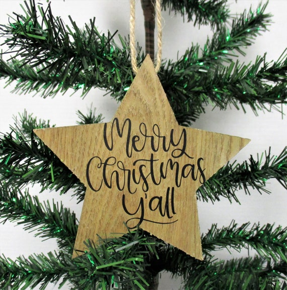 Merry Christmas Y'all Ornament, Christmas Ornament, Christmas Decor, Wood Ornaments, Country Christmas, Farmhouse Christmas