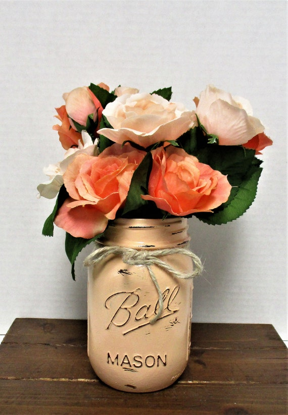 Mason Jar Decor, Centerpiece, Shabby Chic Decor, Wedding Decor, Home Decor, Rustic Decor, Farmhouse, Peach Roses, Mothers Day