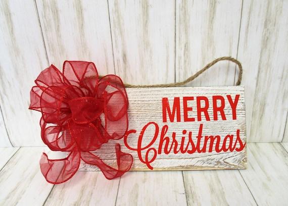 Merry Christmas Wood Sign, Christmas Wall decor, Red Merry Christmas, Christmas Decor, Home Decor, Red Bow, Country Christmas