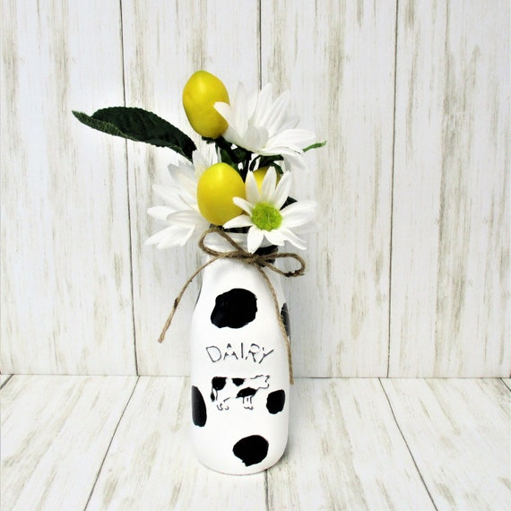 Cow Milk Bottle Lemon Flower Arrangement, Milk Jar, Lemon Decor, Farmhouse Decor, Country Decor, Cow Dairy Bottle, Mother Day Gift